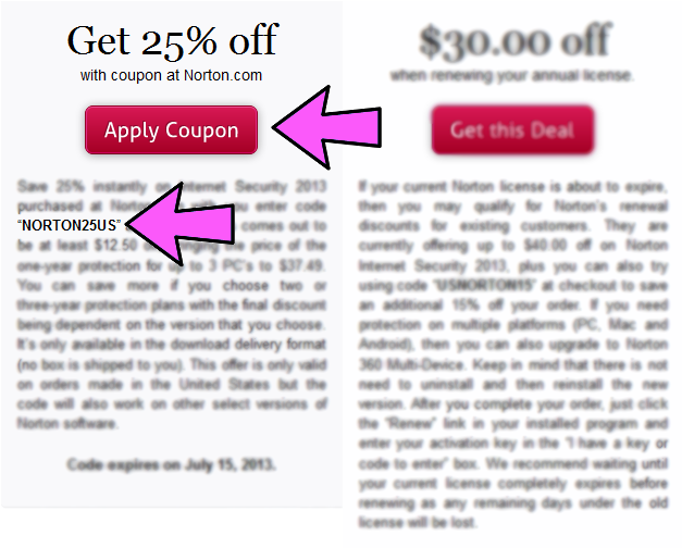 norton internet security coupon example 1