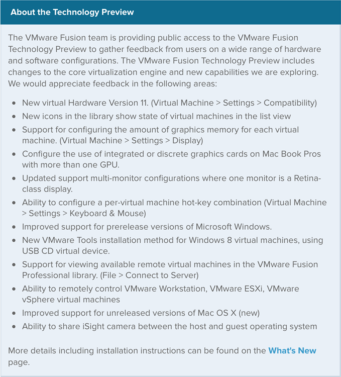 vmware fusion 7 new features