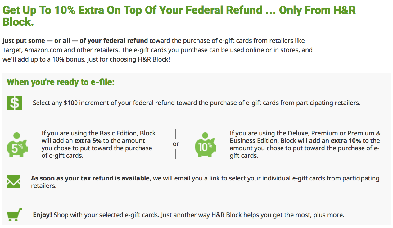 hr block tax refund bonus offer 2016