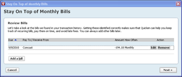 bill reminder in quicken example 2