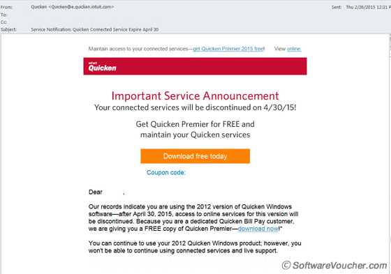 quicken expiration email