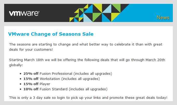 vmware 3 day sale