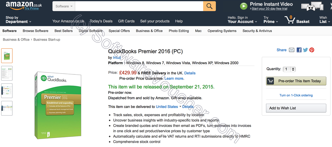 Quickbooks Premier 2016 Amazon Preorder