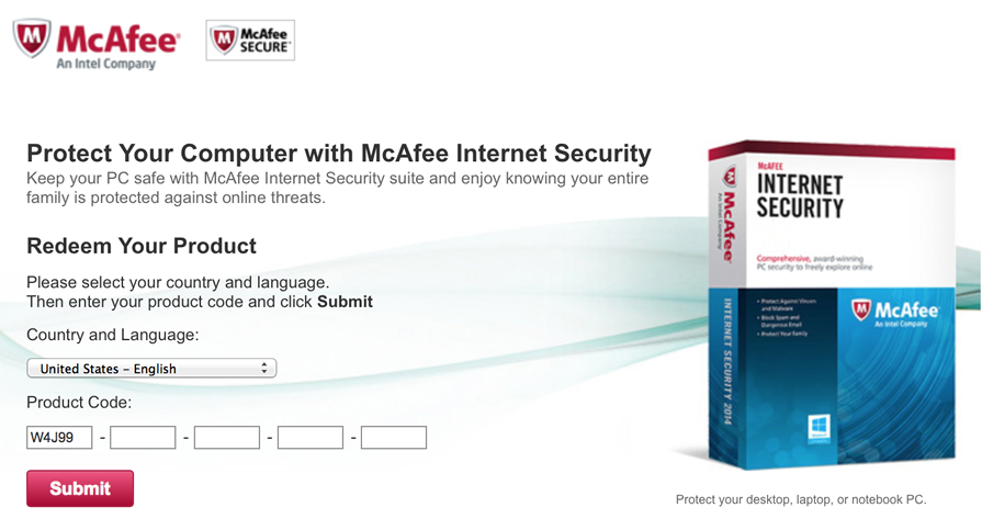 Free McAfee Internet Security - Example 3