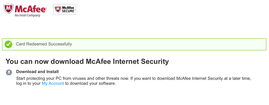 Free McAfee Internet Security - Example 6