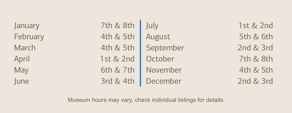 Bank of America Museums 2017 Calendar